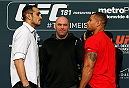 LAS VEGAS - DECEMBER 04:  (L-R) Opponents Tony Ferguson and Abel Trujillo face off during the UFC 181 Ultimate Media Day at the MGM Grand Hotel/Casino on December 4, 2014 in Las Vegas, Nevada. (Photo by Josh Hedges/Zuffa LLC/Zuffa LLC via Getty Images)
