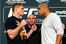 LAS VEGAS - DECEMBER 04:  (L-R) Opponents Todd Duffee and Anthony Hamilton face off during the UFC 181 Ultimate Media Day at the MGM Grand Hotel/Casino on December 4, 2014 in Las Vegas, Nevada. (Photo by Josh Hedges/Zuffa LLC/Zuffa LLC via Getty Images)