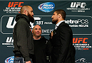LAS VEGAS - DECEMBER 04:  (L-R) Opponents Travis Browne and Brendan Schaub face off during the UFC 181 Ultimate Media Day at the MGM Grand Hotel/Casino on December 4, 2014 in Las Vegas, Nevada. (Photo by Josh Hedges/Zuffa LLC/Zuffa LLC via Getty Images)