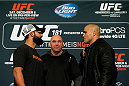 LAS VEGAS - DECEMBER 04:  (L-R) Opponents Johny Hendricks and Robbie Lawler face off during the UFC 181 Ultimate Media Day at the MGM Grand Hotel/Casino on December 4, 2014 in Las Vegas, Nevada. (Photo by Josh Hedges/Zuffa LLC/Zuffa LLC via Getty Images)