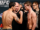 LAS VEGAS, NV - DECEMBER 05:  (L-R) Opponents Alex White and Clay Collard face off during the UFC 181 weigh-in inside the Mandalay Bay Events Center on December 5, 2014 in Las Vegas, Nevada.  (Photo by Josh Hedges/Zuffa LLC/Zuffa LLC via Getty Images)