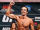 LAS VEGAS, NV - DECEMBER 05:  Josh Samman poses on the scale after weighing in during the UFC 181 weigh-in inside the Mandalay Bay Events Center on December 5, 2014 in Las Vegas, Nevada.  (Photo by Josh Hedges/Zuffa LLC/Zuffa LLC via Getty Images)