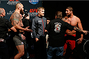 LAS VEGAS, NV - DECEMBER 05:  (L-R) Opponents Travis Browne and Brendan Schaub face off during the UFC 181 weigh-in inside the Mandalay Bay Events Center on December 5, 2014 in Las Vegas, Nevada.  (Photo by Josh Hedges/Zuffa LLC/Zuffa LLC via Getty Images)