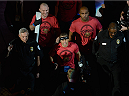 LAS VEGAS, NV - DECEMBER 06:  Urijah Faber walks to the Octagon during the UFC 181 event inside the Mandalay Bay Events Center on December 6, 2014 in Las Vegas, Nevada.  (Photo by Todd Lussier/Zuffa LLC/Zuffa LLC via Getty Images)