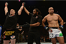LAS VEGAS, NV - DECEMBER 06:  Todd Duffee (left) is declared the winner over Anthony Hamilton (right) in their heavyweight bout during the UFC 181 event inside the Mandalay Bay Events Center on December 6, 2014 in Las Vegas, Nevada.  (Photo by Robert Laberge/Zuffa LLC/Zuffa LLC via Getty Images)