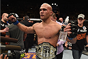 LAS VEGAS, NV - DECEMBER 06:  Robbie Lawler reacts to his victory over Johny Hendricks in their UFC welterweight championship bout during the UFC 181 event inside the Mandalay Bay Events Center on December 6, 2014 in Las Vegas, Nevada.  (Photo by Robert Laberge/Zuffa LLC/Zuffa LLC via Getty Images)