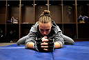 LAS VEGAS, NV - AUGUST 14:  Team Melendez fighter Rose Namajunas warms up before facing team Pettis fighter Randa Markos during filming of season twenty of The Ultimate Fighter on August 14, 2014 in Las Vegas, Nevada. (Photo by Brandon Magnus/Zuffa LLC/Zuffa LLC via Getty Images) *** Local Caption *** Rose Namajunas