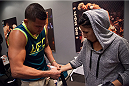 LAS VEGAS, NV - AUGUST 14:  Team Pettis fighter Randa Markos gets her hands wrapped before facing team Melendez fighter Rose Namajunas during filming of season twenty of The Ultimate Fighter on August 14, 2014 in Las Vegas, Nevada. (Photo by Brandon Magnus/Zuffa LLC/Zuffa LLC via Getty Images) *** Local Caption *** Randa Markos