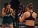LAS VEGAS, NV - AUGUST 14:  (L-R) Team Pettis fighter Randa Markos circles the Octagon while facing team Melendez fighter Rose Namajunas during filming of season twenty of The Ultimate Fighter on August 14, 2014 in Las Vegas, Nevada. (Photo by Brandon Magnus/Zuffa LLC/Zuffa LLC via Getty Images) *** Local Caption *** Randa Markos;Rose Namajunas