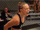 LAS VEGAS, NV - AUGUST 14:  Team Melendez fighter Rose Namajunas reacts after submitting team Pettis fighter Randa Markos during filming of season twenty of The Ultimate Fighter on August 14, 2014 in Las Vegas, Nevada. (Photo by Brandon Magnus/Zuffa LLC/Zuffa LLC via Getty Images) *** Local Caption *** Rose Namajunas