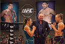 LAS VEGAS, NV - AUGUST 14:  (R-L) Team Melendez fighter Rose Namajunas faces off against team Pettis fighter Carla Esparza during filming of season twenty of The Ultimate Fighter on August 14, 2014 in Las Vegas, Nevada. (Photo by Brandon Magnus/Zuffa LLC/Zuffa LLC via Getty Images) *** Local Caption *** Rose Namajunas;Carla Esparza