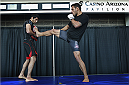 PHOENIX, AZ - DECEMBER 10:  Number 3-ranked UFC lightweight contender Rafael Dos Anjos (R) delivers a kick during UFC Fight Night open workouts at U.S. Airways Center on December 10, 2014 in Phoenix, Arizona.  (Photo by Ralph Freso/Zuffa LLC/Zuffa LLC via Getty Images)