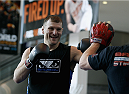 PHOENIX, AZ - DECEMBER 10:  Number 4-ranked UFC heavyweight contender Stipe Miocic smiles as he takes part in UFC Fight Night open workouts at U.S. Airways Center on December 10, 2014 in Phoenix, Arizona.  (Photo by Ralph Freso/Zuffa LLC/Zuffa LLC via Getty Images)