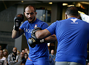 PHOENIX, AZ - DECEMBER 10:  Number 2-ranked UFC heavyweight contender Junior Dos Santos takes part in UFC Fight Night open workouts at U.S. Airways Center on December 10, 2014 in Phoenix, Arizona.  (Photo by Ralph Freso/Zuffa LLC/Zuffa LLC via Getty Images)