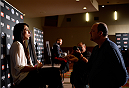 LAS VEGAS, NEVADA - DECEMBER 10:  Jessica Penne speaks with the media during The Ultimate Fighter Finale Ultimate Media Day at the Palms Casino Resort on December 10, 2014 in Las Vegas, Nevada. (Photo by Brandon Magnus/Zuffa LLC/Zuffa LLC via Getty Images)