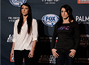 LAS VEGAS, NEVADA - DECEMBER 10:  (L-R) Jessica Penne and Randa Markos face-off during The Ultimate Fighter Finale Ultimate Media Day at the Palms Casino Resort on December 10, 2014 in Las Vegas, Nevada. (Photo by Brandon Magnus/Zuffa LLC/Zuffa LLC via Getty Images)