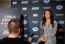 LAS VEGAS, NEVADA - DECEMBER 10:  Carla Esparza speaks with the media during The Ultimate Fighter Finale Ultimate Media Day at the Palms Casino Resort on December 10, 2014 in Las Vegas, Nevada. (Photo by Brandon Magnus/Zuffa LLC/Zuffa LLC via Getty Images)