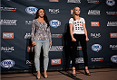 LAS VEGAS, NEVADA - DECEMBER 10:  (L-R) Carla Esparza and Rose Namajunas face-off during The Ultimate Fighter Finale Ultimate Media Day at the Palms Casino Resort on December 10, 2014 in Las Vegas, Nevada. (Photo by Brandon Magnus/Zuffa LLC/Zuffa LLC via Getty Images)