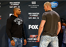 PHOENIX, AZ - DECEMBER 11:  (L-R) Opponents Alistair Overeem of the Netherlands and Stefan Struve of the Netherlands face off during the UFC Ultimate Media Day at the US Airways Center on December 11, 2014 in Phoenix, Arizona. (Photo by Josh Hedges/Zuffa LLC/Zuffa LLC via Getty Images)