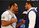 PHOENIX, AZ - DECEMBER 11:  (L-R) Opponents Gabriel Gonzaga of Brazil and Matt Mitrione face off during the UFC Ultimate Media Day at the US Airways Center on December 11, 2014 in Phoenix, Arizona. (Photo by Josh Hedges/Zuffa LLC/Zuffa LLC via Getty Images)