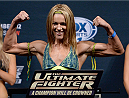 LAS VEGAS, NEVADA - DECEMBER 11:  UFC strawweight Felice Herrig steps on the scale during The Ultimate Fighter Finale weigh-ins at the Palms Casino Resort on December 11, 2014 in Las Vegas, Nevada. (Photo by Jeff Bottari/Zuffa LLC/Zuffa LLC via Getty Images)