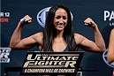 LAS VEGAS, NEVADA - DECEMBER 11:  UFC strawweight Carla Esparza steps on the scale during The Ultimate Fighter Finale weigh-ins at the Palms Casino Resort on December 11, 2014 in Las Vegas, Nevada. (Photo by Jeff Bottari/Zuffa LLC/Zuffa LLC via Getty Images)
