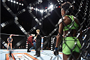 LAS VEGAS, NEVADA - DECEMBER 12: (R-L) Angela Hill looks across the Octagon at her opponent Emily Kagan in their strawweight fight during The Ultimate Fighter Finale event inside the Pearl concert theater at the Palms Casino Resort on December 12, 2014 in Las Vegas, Nevada. (Photo by Jeff Bottari/Zuffa LLC/Zuffa LLC via Getty Images)