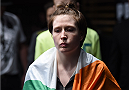 LAS VEGAS, NEVADA - DECEMBER 12:  Aisling Daly prepares to enter the Octagon before facing Aisling Daly in their strawweight fight during The Ultimate Fighter Finale event inside the Pearl concert theater at the Palms Casino Resort on December 12, 2014 in Las Vegas, Nevada. (Photo by Jeff Bottari/Zuffa LLC/Zuffa LLC via Getty Images)