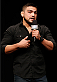 PHOENIX, AZ - DECEMBER 12:  UFC welterweight star Kelvin Gastelum interacts with fans during a Q&A session before the UFC Fight Night weigh-in event at the Phoenix Convention Center on December 12, 2014 in Phoenix, Arizona. (Photo by Josh Hedges/Zuffa LLC/Zuffa LLC via Getty Images)