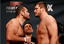 PHOENIX, AZ - DECEMBER 12:  (L-R) Opponents Gabriel Gonzaga of Brazil and Matt Mitrione face off during the UFC Fight Night weigh-in event at the Phoenix Convention Center on December 12, 2014 in Phoenix, Arizona. (Photo by Josh Hedges/Zuffa LLC/Zuffa LLC via Getty Images)
