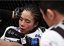 LAS VEGAS, NEVADA - DECEMBER 12:  Seohee Ham sits in her corner after her fight against Joanne Calderwood in their strawweight fight during The Ultimate Fighter Finale event inside the Palms Casino Resort on December 12, 2014 in Las Vegas, Nevada. (Photo by Jeff Bottari/Zuffa LLC/Zuffa LLC via Getty Images)