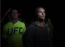 LAS VEGAS, NEVADA - DECEMBER 12: Felice Herrig prepares to enter the Octagon before facing Lisa Ellis in their strawweight fight during The Ultimate Fighter Finale event inside the Pearl concert theater at the Palms Casino Resort on December 12, 2014 in Las Vegas, Nevada. (Photo by Jeff Bottari/Zuffa LLC/Zuffa LLC via Getty Images)