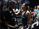 LAS VEGAS, NEVADA - DECEMBER 12:  Randa Markos prepares to enter the Octagon before facing Jessica Penne in their strawweight fight during The Ultimate Fighter Finale event inside the Pearl concert theater at the Palms Casino Resort on December 12, 2014 in Las Vegas, Nevada. (Photo by Jeff Bottari/Zuffa LLC/Zuffa LLC via Getty Images)