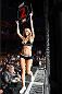 LAS VEGAS, NEVADA - DECEMBER 12:  UFC Octagon girl Chrissy Blair introduces the round during The Ultimate Fighter Finale event inside the Palms Casino Resort on December 12, 2014 in Las Vegas, Nevada. (Photo by Jeff Bottari/Zuffa LLC/Zuffa LLC via Getty Images)