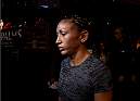 LAS VEGAS, NEVADA - DECEMBER 12: Carla Esparza prepares to enter the Octagon before facing Rose Namajunas in their strawweight championship fight during The Ultimate Fighter Finale event inside the Pearl concert theater at the Palms Casino Resort on December 12, 2014 in Las Vegas, Nevada. (Photo by Jeff Bottari/Zuffa LLC/Zuffa LLC via Getty Images)