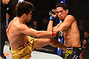 PHOENIX, AZ - DECEMBER 13:  (L-R) Henry Cejudo kicks the body of Dustin Kimura in their bantamweight fight during the UFC Fight Night event at the U.S. Airways Center on December 13, 2014 in Phoenix, Arizona.  (Photo by Josh Hedges/Zuffa LLC/Zuffa LLC via Getty Images)