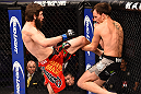 PHOENIX, AZ - DECEMBER 13:  (R-L) Joe Ellenberger blocks a kick from Bryan Barberena in their lightweight fight during the UFC Fight Night event at the U.S. Airways Center on December 13, 2014 in Phoenix, Arizona.  (Photo by Josh Hedges/Zuffa LLC/Zuffa LLC via Getty Images)