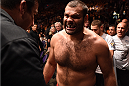 PHOENIX, AZ - DECEMBER 13:  Gabriel Gonzaga of Brazil prepares to enter the Octagon before facing Matt Mitrione in their heavyweight fight during the UFC Fight Night event at the U.S. Airways Center on December 13, 2014 in Phoenix, Arizona.  (Photo by Josh Hedges/Zuffa LLC/Zuffa LLC via Getty Images)