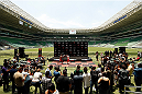 SAO PAULO, BRAZIL - DECEMBER 18:  Renan Barao of Brazil holds an open training session for fans and media at Allianz Parque on December 18, 2014 in Sao Paulo, Brazil. (Photo by Josh Hedges/Zuffa LLC/Zuffa LLC via Getty Images)