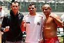 SAO PAULO, BRAZIL - DECEMBER 18:  Renan Barao (center) of Brazil poses for a photo with his teammates after an open training session for fans and media at Allianz Parque on December 18, 2014 in Sao Paulo, Brazil. (Photo by Josh Hedges/Zuffa LLC/Zuffa LLC via Getty Images)