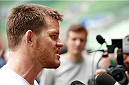 SAO PAULO, BRAZIL - DECEMBER 18:  CB Dollaway of the United States interacts with media after an open training session for fans and media at Allianz Parque on December 18, 2014 in Sao Paulo, Brazil. (Photo by Josh Hedges/Zuffa LLC/Zuffa LLC via Getty Images)