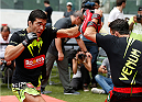 SAO PAULO, BRAZIL - DECEMBER 18:  Lyoto Machida of Brazil holds an open training session for fans and media at Allianz Parque on December 18, 2014 in Sao Paulo, Brazil. (Photo by Josh Hedges/Zuffa LLC/Zuffa LLC via Getty Images)