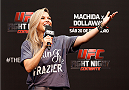 BARUERI, BRAZIL - DECEMBER 19:  UFC reporter Paula Sack hosts a Q&A session with Jose Aldo before the UFC weigh-in event inside the Ginasio Jose Correa on December 19, 2014 in Barueri, Brazil. (Photo by Josh Hedges/Zuffa LLC/Zuffa LLC via Getty Images)