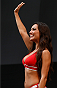 BARUERI, BRAZIL - DECEMBER 19:  UFC Octagon Girl Luciana Andrade stands on stage during the UFC weigh-in event inside the Ginasio Jose Correa on December 19, 2014 in Barueri, Brazil. (Photo by Josh Hedges/Zuffa LLC/Zuffa LLC via Getty Images)