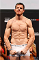 BARUERI, BRAZIL - DECEMBER 19:  CB Dollaway of the United States poses on the scale after weighing in during the UFC weigh-in event inside the Ginasio Jose Correa on December 19, 2014 in Barueri, Brazil. (Photo by Josh Hedges/Zuffa LLC/Zuffa LLC via Getty Images)