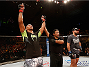BARUERI, BRAZIL - DECEMBER 20:  Marcos Rogerio de Lima of Brazil celebrates after his knockout victory over Igor Pokrajac of Croatia in their light heavyweight fight during the UFC Fight Night event inside the Ginasio Jose Correa on December 20, 2014 in Barueri, Brazil. (Photo by Josh Hedges/Zuffa LLC/Zuffa LLC via Getty Images)
