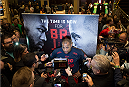 LAS VEGAS, NEVADA - DECEMBER 31:  Daniel Cormier talks to the media during the UFC 182 Open Workouts at the MGM Grand Hotel and Casino on December 31, 2014 in Las Vegas, Nevada. (Photo by Brandon Magnus/Zuffa LLC/Zuffa LLC via Getty Images)