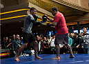 LAS VEGAS, NEVADA - DECEMBER 31:  Myles Jury hits pads with his trainer during the UFC 182 Open Workouts at the MGM Grand Hotel and Casino on December 31, 2014 in Las Vegas, Nevada. (Photo by Brandon Magnus/Zuffa LLC/Zuffa LLC via Getty Images)