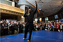 LAS VEGAS, NEVADA - DECEMBER 31:  Jon Jones pumps up the crowd during the UFC 182 Open Workouts at the MGM Grand Hotel and Casino on December 31, 2014 in Las Vegas, Nevada. (Photo by Brandon Magnus/Zuffa LLC/Zuffa LLC via Getty Images)