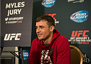 LAS VEGAS, NEVADA - JANUARY 01:  Myles Jury speaks to the media during the UFC 182 Media Day at the MGM Grand Hotel and Casino on January 1, 2015 in Las Vegas, Nevada. (Photo by Brandon Magnus/Zuffa LLC/Zuffa LLC via Getty Images)